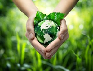eco-friendly hands holding the earth