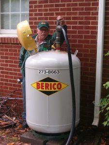 Berico technician filling a propane tank