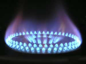 gas stove lit